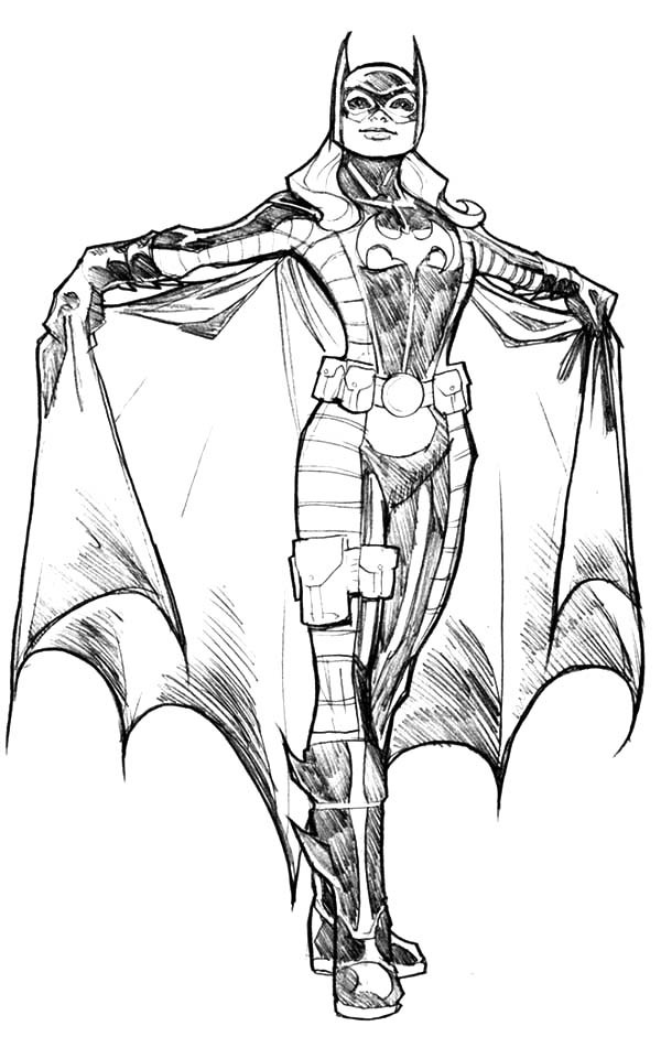 Batgirl, : Batgirl Amazing Costume Coloring Pages