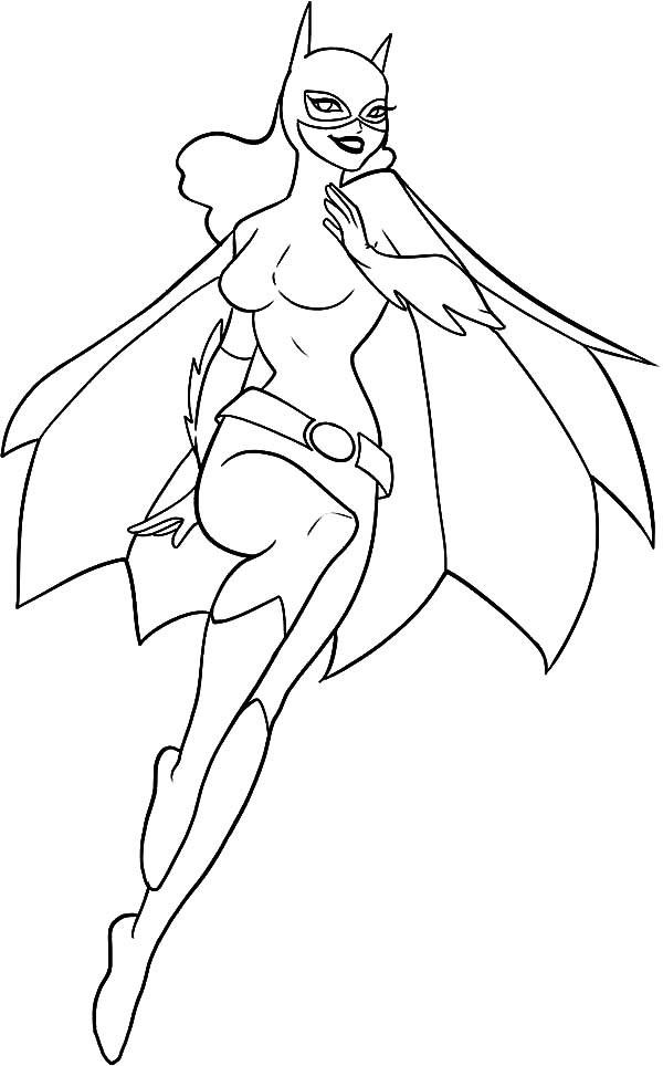 Batgirl, : Batgirl Chasing Criminals Coloring Pages