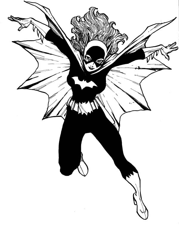 Batgirl, : Batgirl Jumping High Coloring Pages