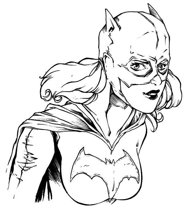 Batgirl, : Batgirl Potrait Coloring Pages