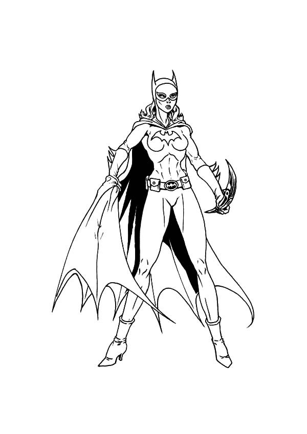 Batgirl, : Batgirl Ready to Throw Her Weapon Coloring Pages