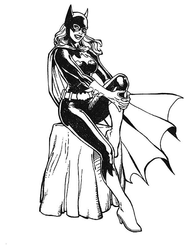 Batgirl, : Batgirl Sitting on Rock Coloring Pages