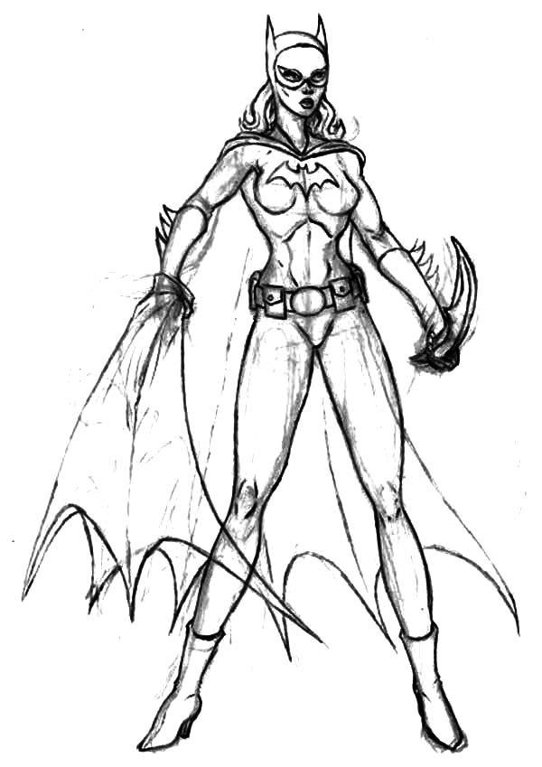 Batgirl, : Batgirl Sketch Coloring Pages