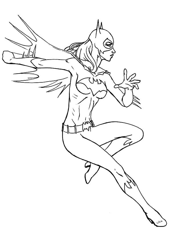 Batgirl, : Batgirl Strong Punch Coloring Pages