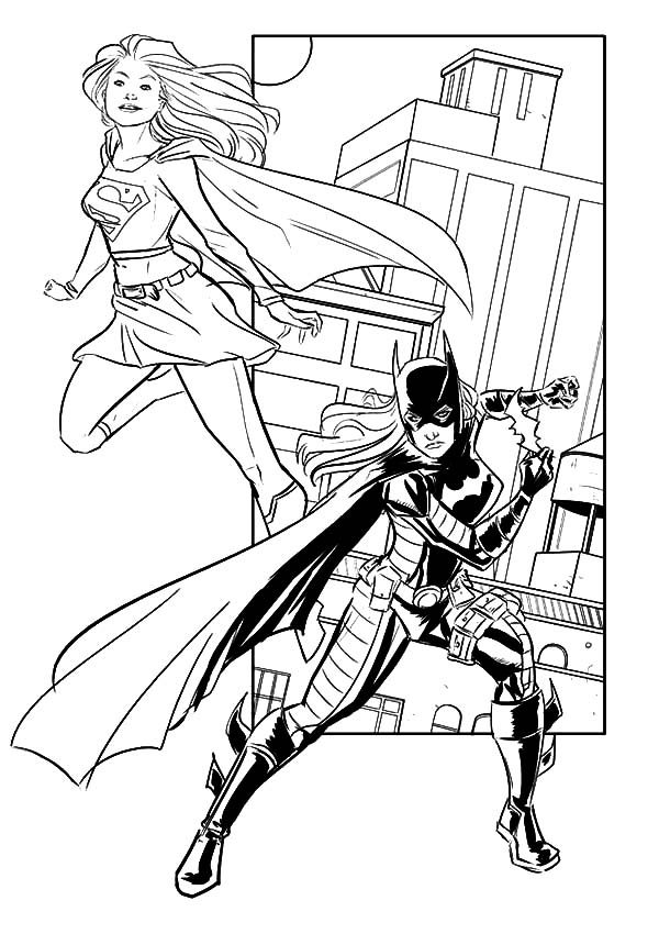 Batgirl, : Batgirl and Supergirl Working Together Coloring Pages