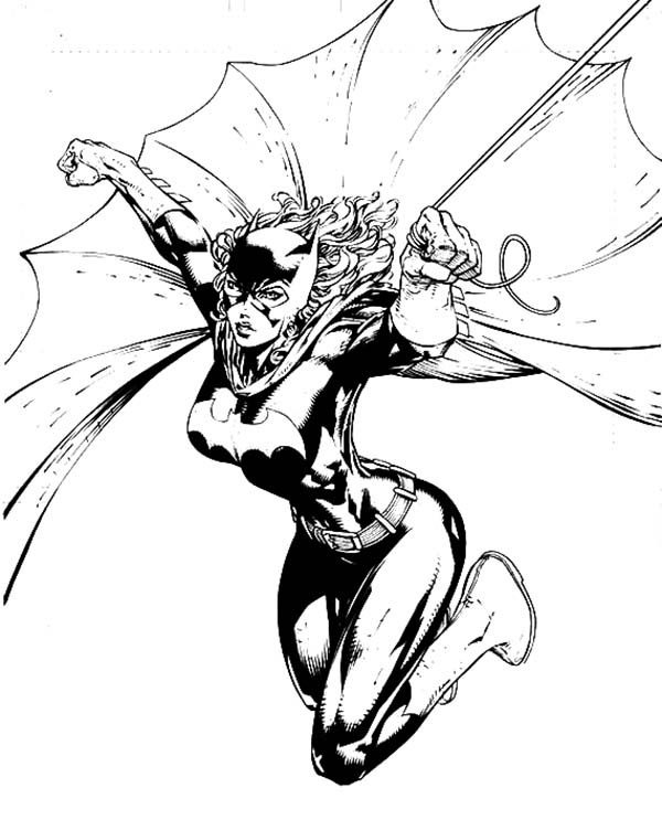 Batgirl, : Batgirl is Flying Coloring Pages