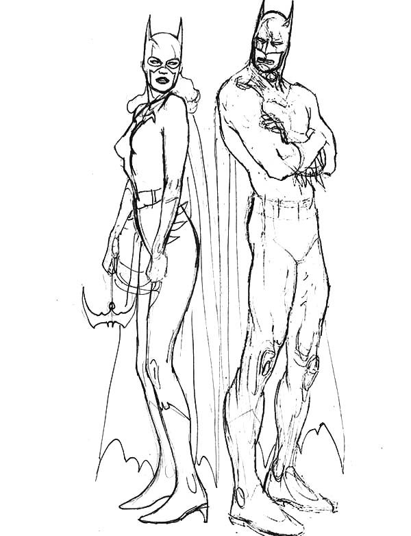 Batgirl, : Batman and Batgirl Sketch Coloring Pages