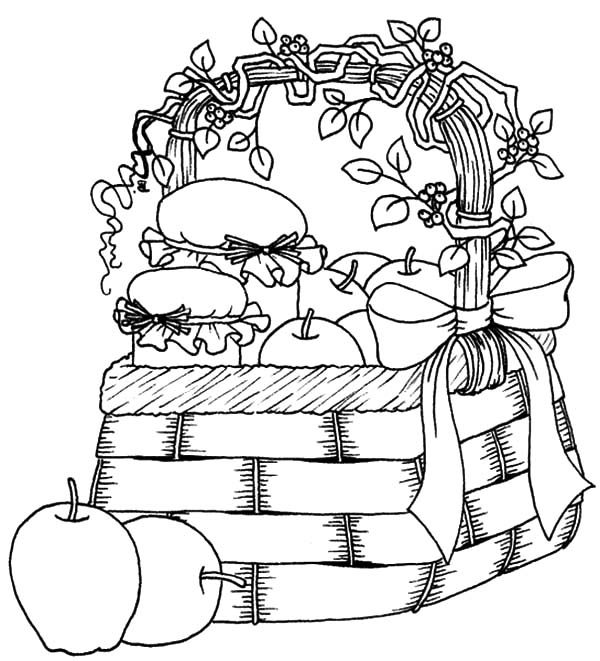Apple Basket, : Beautiful Apple Basket Coloring Pages