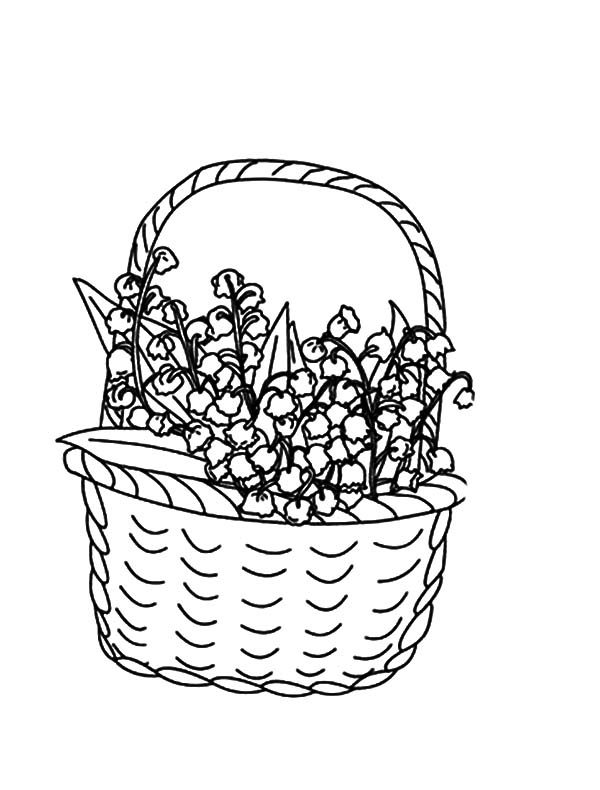 Basket of Flowers, : Beautiful Basket of Flowers Coloring Pages