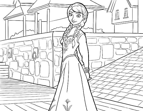 Anna, : Beautiful Princess Anna Coloring Pages