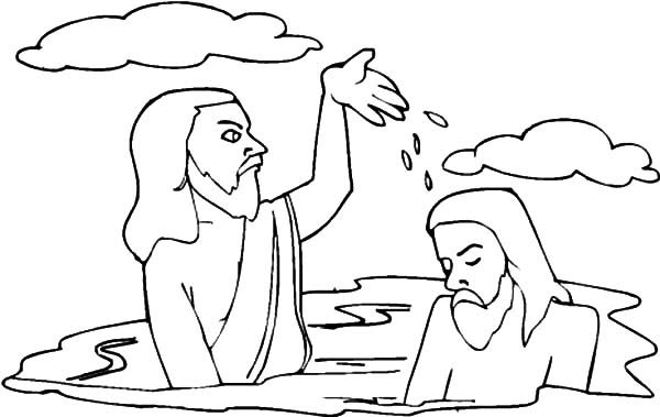 Baptism, : Bible Baptism of Jesus Coloring Pages