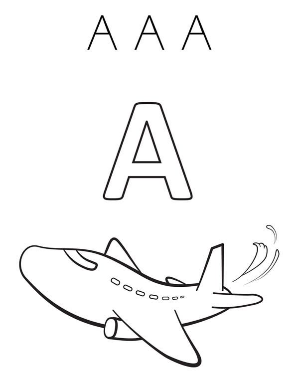 Letter A, : Big A for Airplane on Learning Letter A Coloring Page