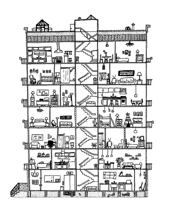 Apartment, : Big Apartment Building Coloring Pages