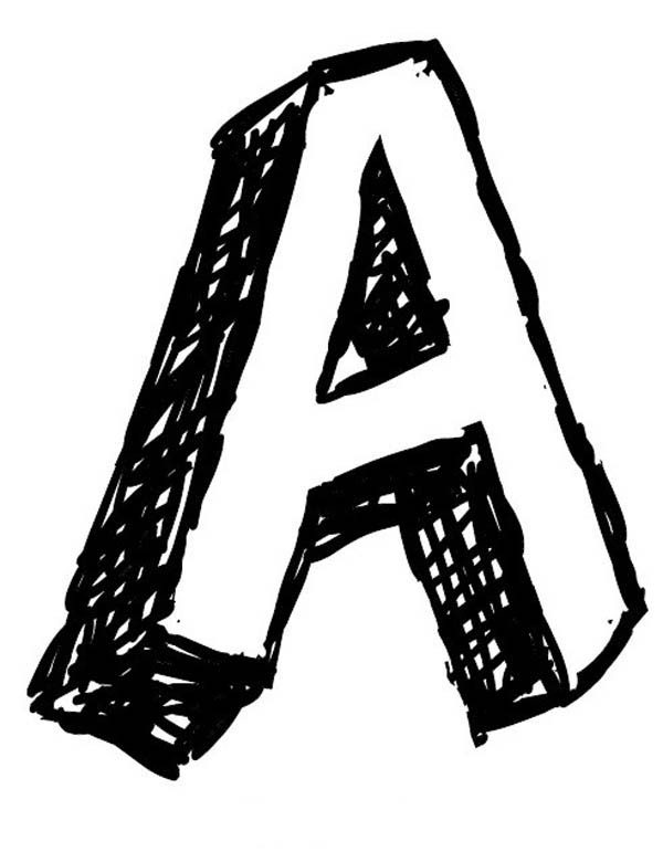 Letter A, : Big Letter A Coloring Page