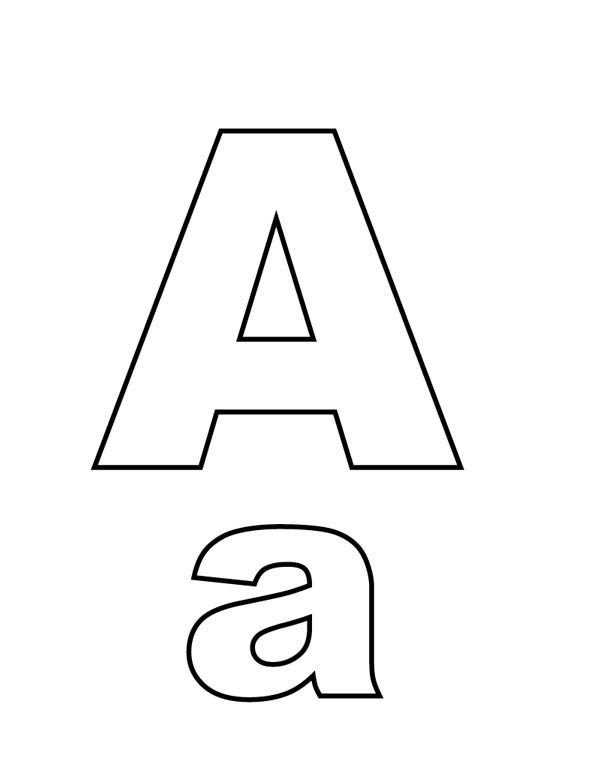 Letter A, : Big and Small A on Learning Letter A Coloring Page