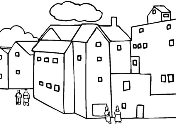 Apartment, : Buildings and Apartment Coloring Pages