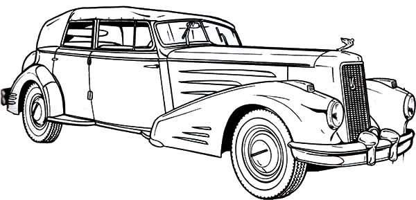 Antique Car, : Cadillac Antique Car Coloring Pages