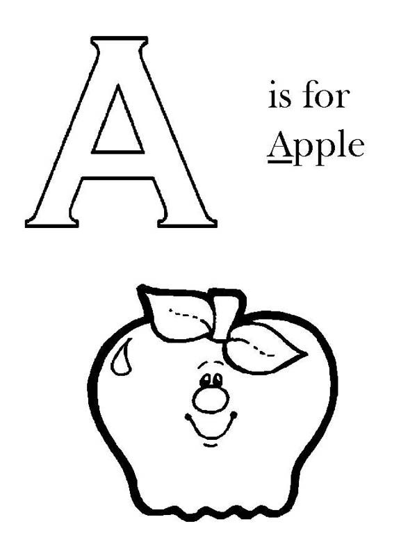 Letter A, : Capital A is for Apple on Learning Letter A Coloring Page