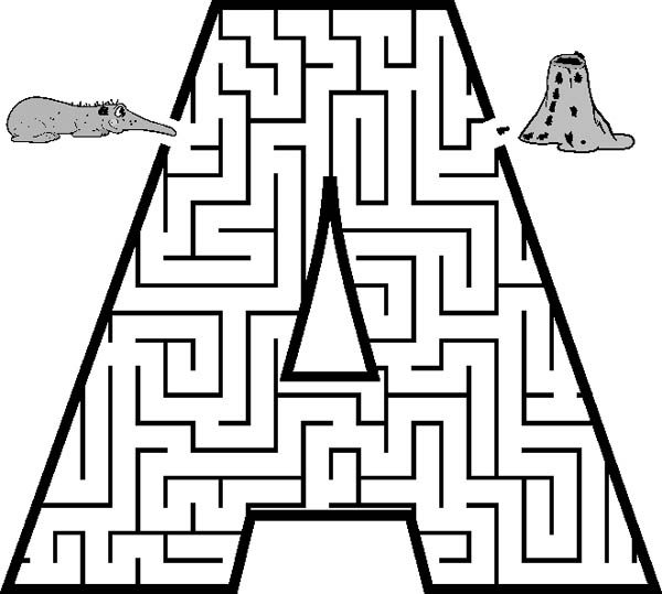 Letter A, : Capital Letter A Maze Coloring Page