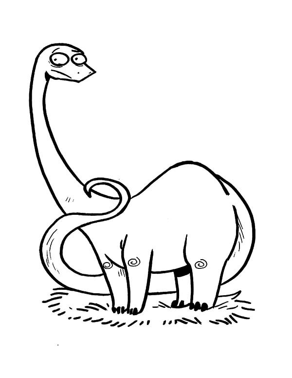 Apatosaurus, : Cartoon of Apatosaurus Coloring Pages