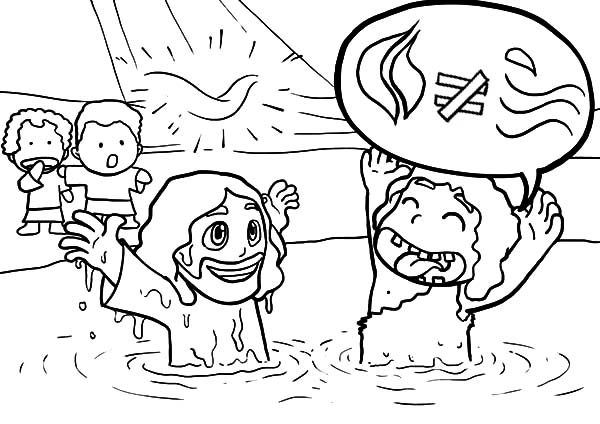 Baptism, : Cartoon of Jesus Baptism Coloring Pages