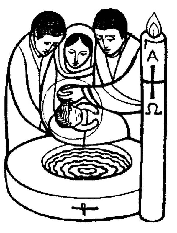Baptism, : Ceremonial of Baptism Coloring Pages