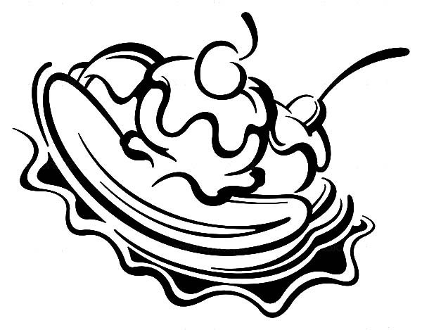 Banana Split, : Chocolate Flavour Banana Split Coloring Pages