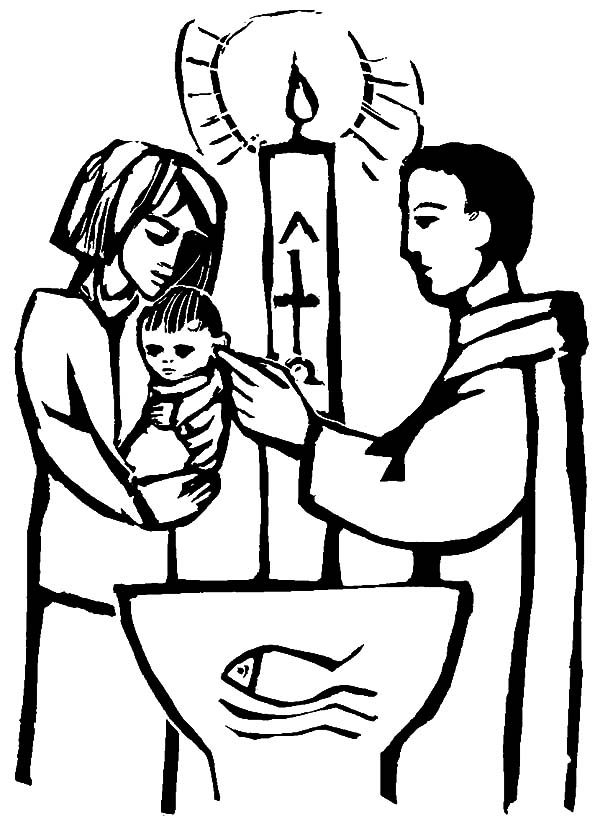 Baptism, : Christian Baby Baptism Coloring Pages