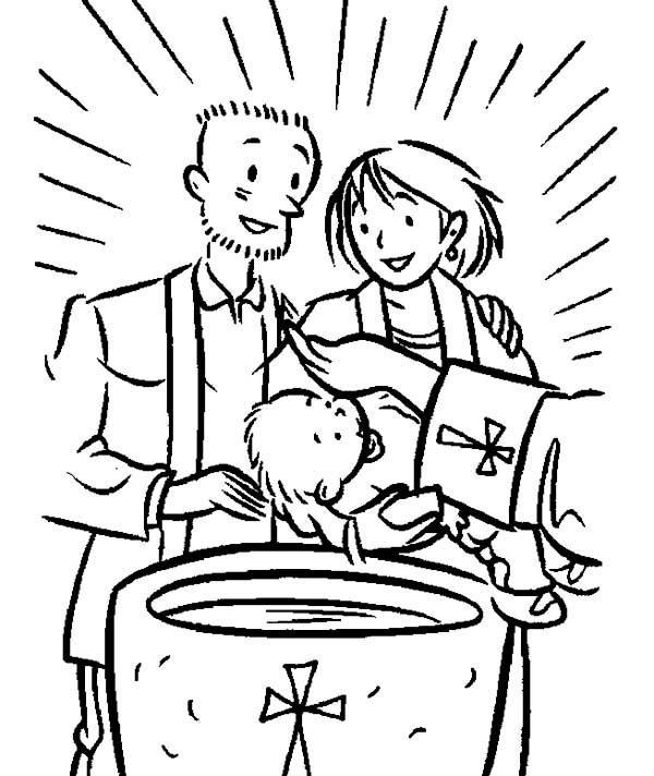 Baptism, : Christian Sacrament of Baptism Coloring Pages