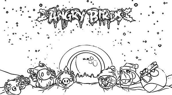 Angry Bird, : Christmas Angry Bird Coloring Pages