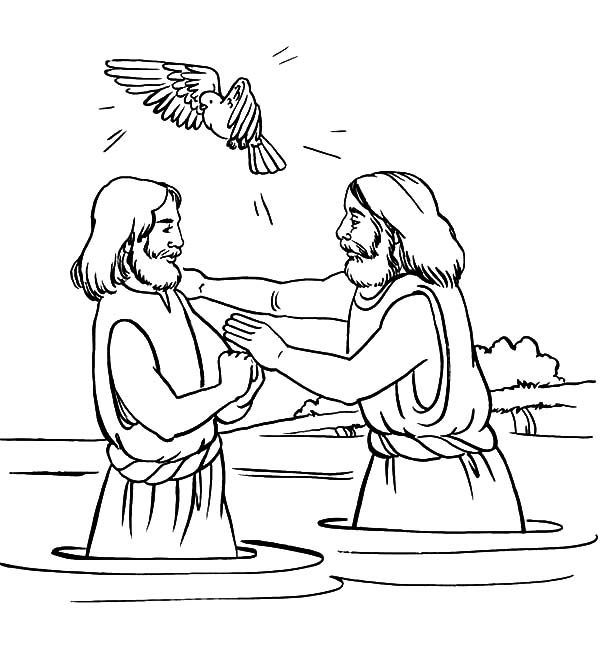 Baptism, : Christmas Baptism of Jesus Coloring Pages