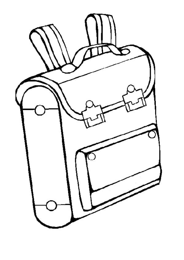 Backpack, : Classic Backpack Coloring Pages
