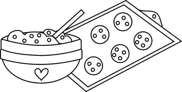 Baking Cookies, : Cookie Dough in Mixing Bowl and Baking Cookies Coloring Pages