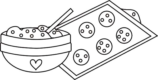 Cooking Chocolate Chip Cookies Coloring Pages