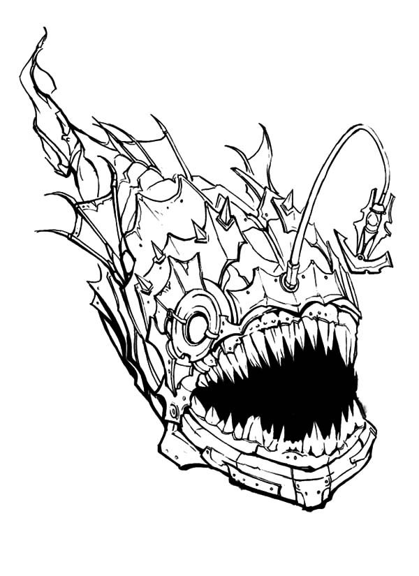 Angler Fish, : Creepy Angler Fish Coloring Pages