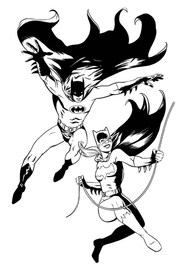 Batgirl, : DC Comic Batman and Batgirl Coloring Pages
