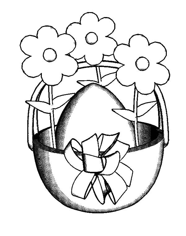 Basket of Flowers, : Deacorating Basket of Flowers Coloring Pages