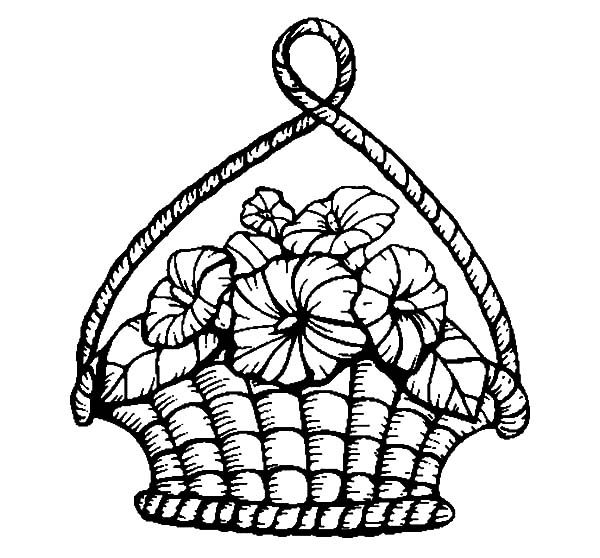 Basket of Flowers, : Decorate Your House with Basket of Flowers Coloring Pages