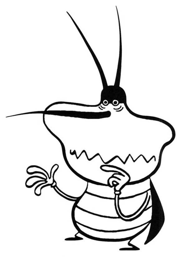 Oggy and the Cockroaches, : Dee Dee Look so Scared in Oggy and the Cockroaches Coloring Pages