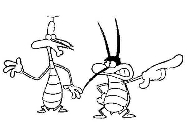 Oggy and the Cockroaches, : Dee Dee and Marky from Oggy and the Cockroaches Coloring Pages