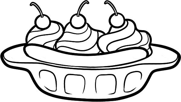 Banana Split, : Delicious Banana Split Coloring Pages