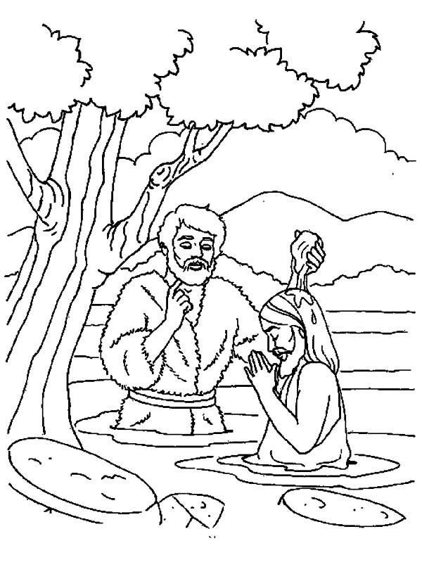 Baptism, : Depiction of Jesus Baptism Coloring Pages