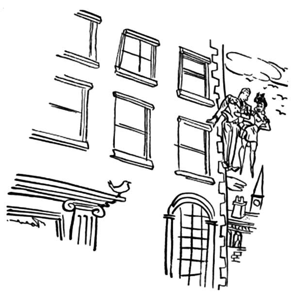 Apartment, : Designing Apartment Building Coloring Pages