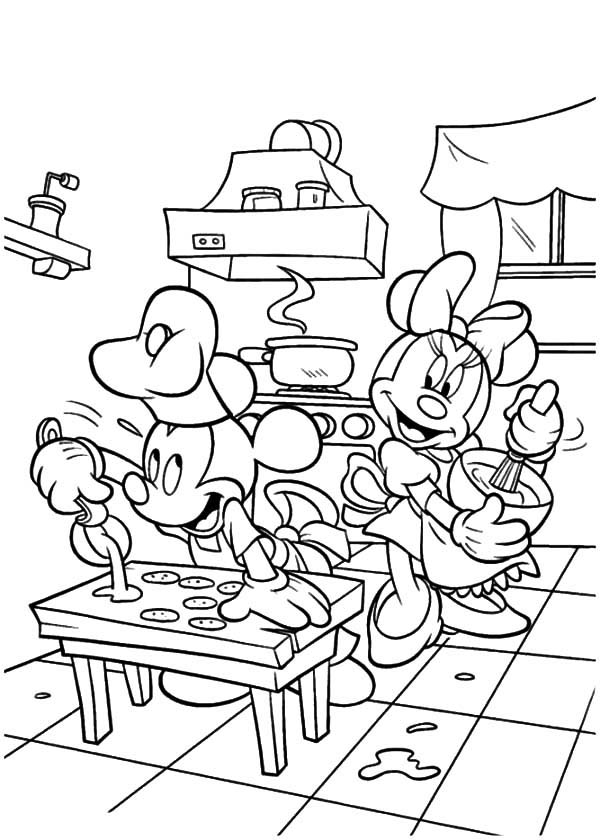 Disney mickey and minnie mouse baking cookies coloring for Baking coloring pages