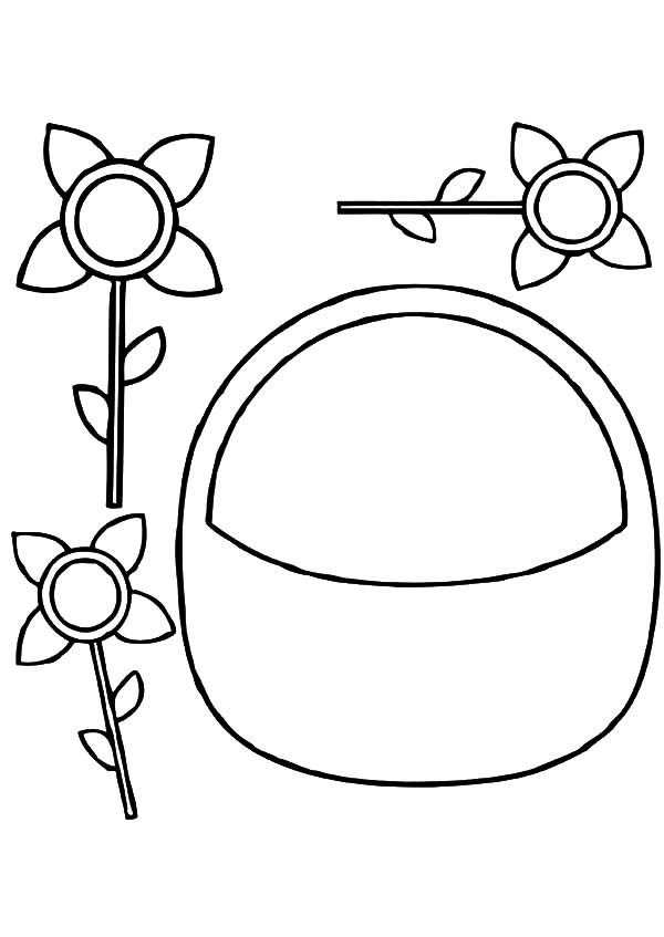 Basket of Flowers, : Do it Yourself Basket of Flowers Coloring Pages
