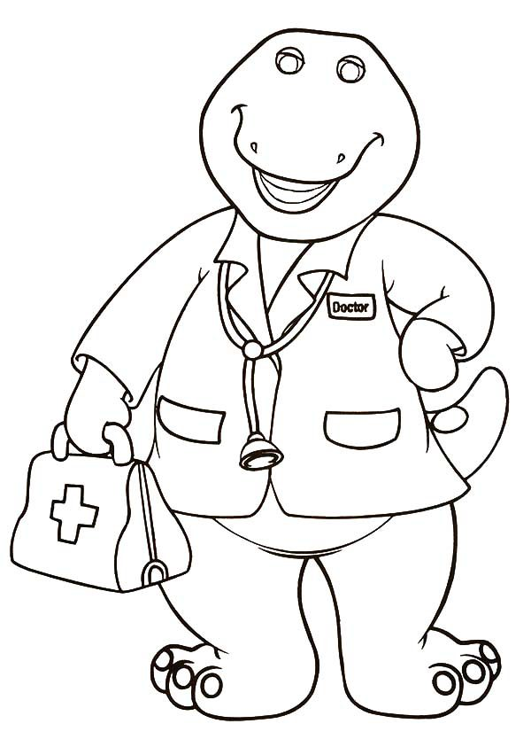 Barney, : Doctor Barney Coloring Pages