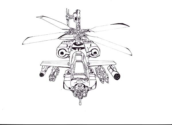 Apache Helicopter, : Drawing Apache Helicopter Coloring Pages