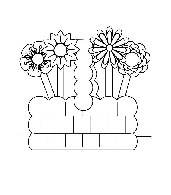 Basket of Flowers, : Drawing Basket of Flowers Coloring Pages