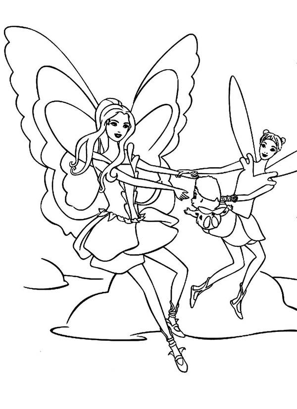 Barbie Fairytopia, : Elina Dancing with Dandelion and Bibble in Barbie Fairytopia World Coloring Pages
