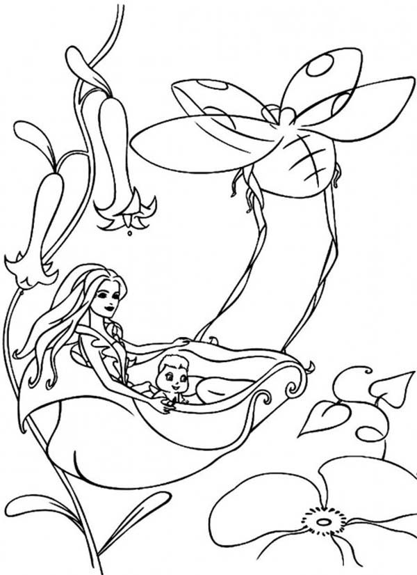 Barbie Fairytopia, : Elina and Bibble Riding on Leaf in Barbie Fairytopia World Coloring Pages